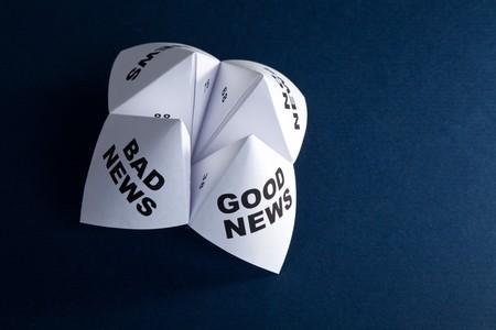 Papier waarzegster, goed nieuws; Slecht nieuws; Geen nieuws; Nieuws, concept van zakelijke beslissing