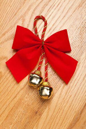 Christmas Bells and ribbon close up Stock Photo