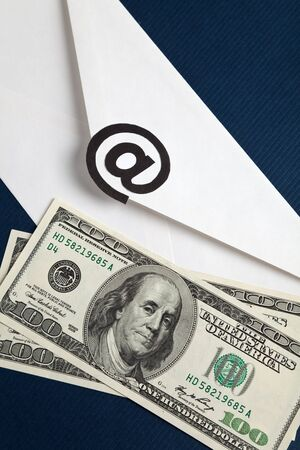 E-Mail and usa dollar, concept of E-commerce Stock Photo