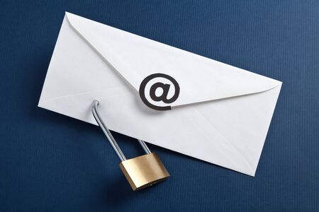 Envelope with @ Symbol and lock, concept of E-Mail Security