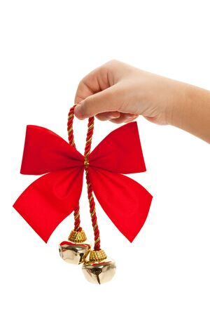 Christmas Bells and ribbon with white background photo