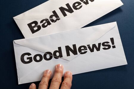 envelope: Good News and bad news, Business concept Stock Photo