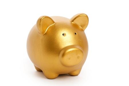 Gouden Piggy Bank met witte achtergrond Stockfoto