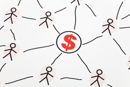 interpersonal: People Sketching Network and dollar sign, concept of business relation Stock Photo