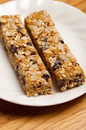 granola: Energy bar on table top close up