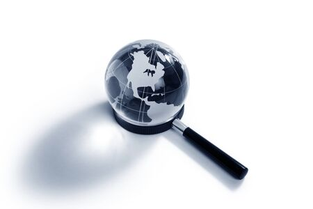 internet search: Globe and Magnifying Glass for background