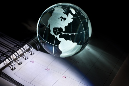Globe and Calendar for background    Zdjęcie Seryjne