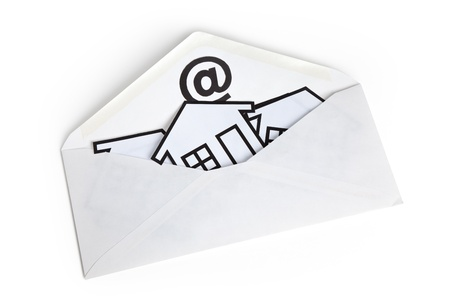 email: E-Mail and Home Symbol, concept of online Real Estate