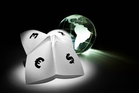 Globe and Paper Fortune Teller for background Stock Photo - 8880172