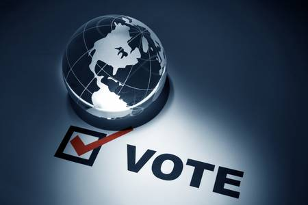 Globe and Voting, concept of Global Communications