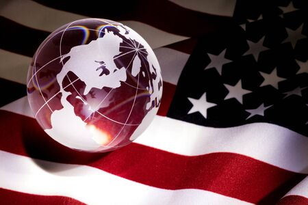 Globe and USA Flag for background photo