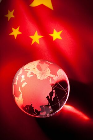 Globe and China Flag for background 스톡 콘텐츠 - 8880220