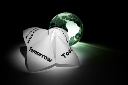 Globe and Paper Fortune Teller for background Stock Photo - 8880273