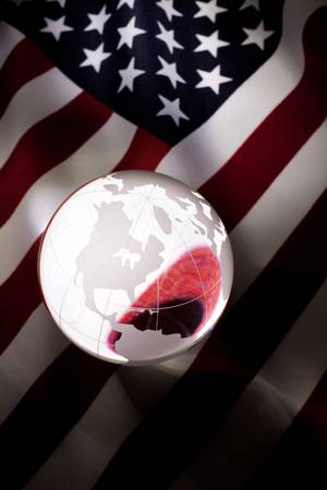 Globe and USA Flag for background