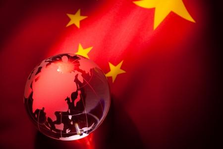 erde gelb: Globe und China Flag f�r Hintergrund