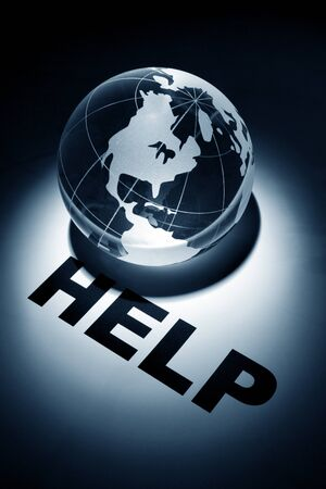 help: globe, concept of Help   Stock Photo