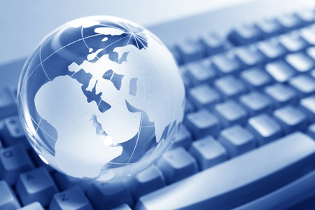 Blue Globe and Computer Keyboard for background Stock Photo - 8906165