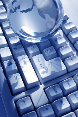 Blue Globe and Computer Keyboard for background Stock Photo - 8906164