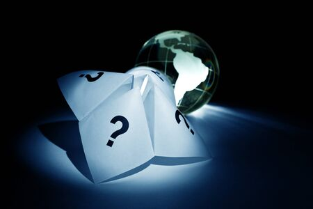 cootie catcher: Globe and Paper Fortune Teller for background