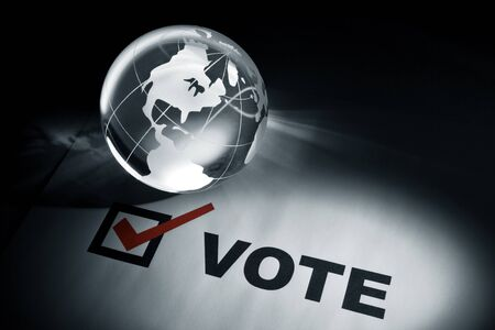 Globe and Voting, concept of Global Communications Stock Photo - 8982082