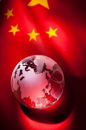 Globe and China Flag for background Stock Photo