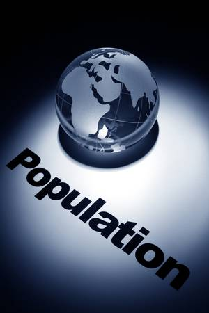 population growth: globe, concept of Global population growth  Stock Photo