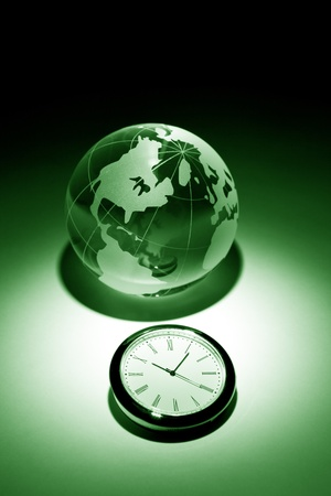Globe and clock for background    Stock Photo