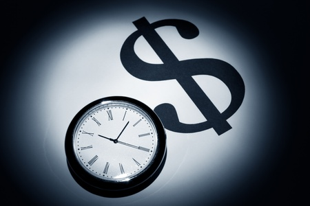Clock and Dollar Sign for background Imagens