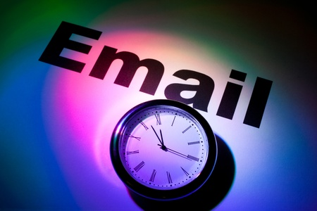 Clock and word of E-Mail for background Stock Photo - 9210488