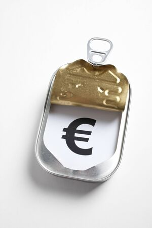 timely: Can and Euro Sign, Concept of easy and timely financial assistance Stock Photo