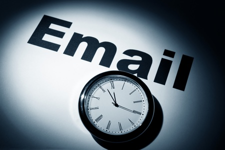 Clock and word of E-Mail for background   Stock Photo