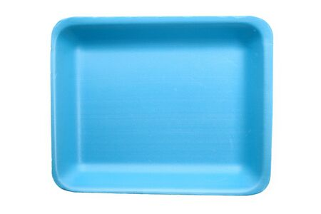 Blue plastic food tray with white background