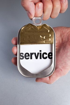 Can and word service, Concept of easy and timely assistance Stock Photo - 9398000