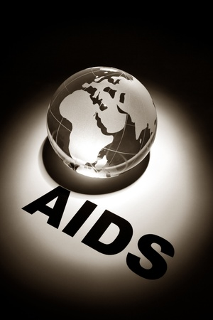 spread the word: globe, concept of Global AIDS spread and Prevention