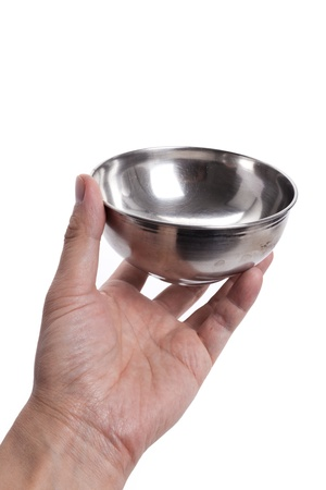 holding close: Steel Bowl with white background Stock Photo