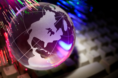 Globe and Computer Keyboard for background    photo