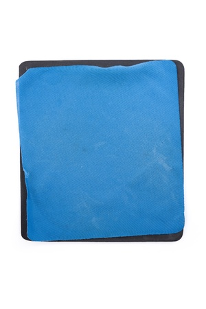 mouse pad: Blank Old Blue mouse pad close up Stock Photo