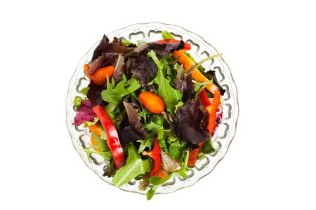 green and purple vegetables: Salad, Lettuces, mizuna, tomato for background Stock Photo
