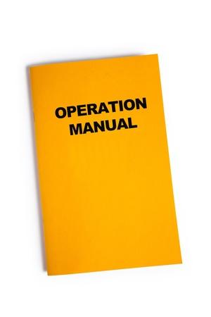 Operation Manual met witte achtergrond Stockfoto