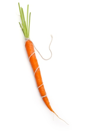 String and carrot with white background
