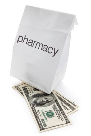 Pharmacy Bag and dollar close up  photo
