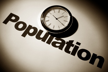 overpopulation: Clock and word of Population for background