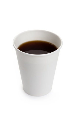 cup: White Paper Cup and Coffee close up Stock Photo