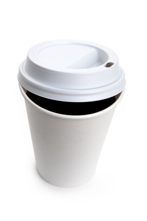 White Paper Cup and Coffee close up photo