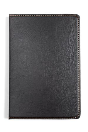 Black Leather Notebook with white background