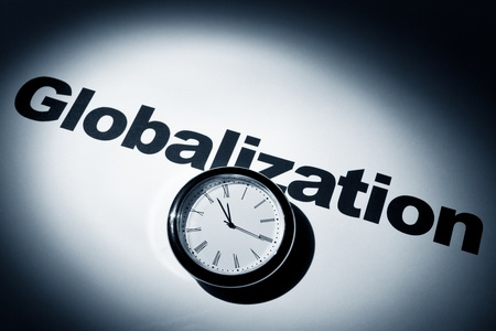 Clock and word of Globalization for background   Stock Photo
