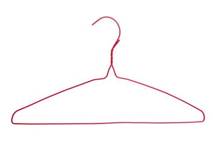 Rode kleerhanger met witte achtergrond