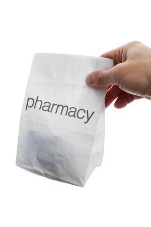 white paper bag: Bolsa de Farmacia de cerca Foto de archivo