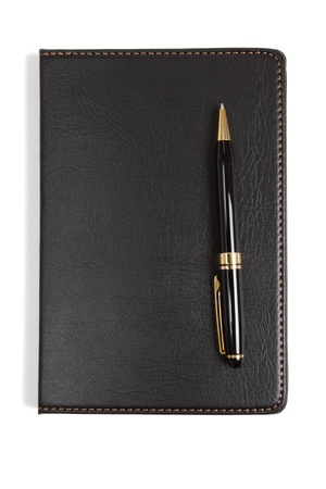 notebook: Black Leather Notebook with white background