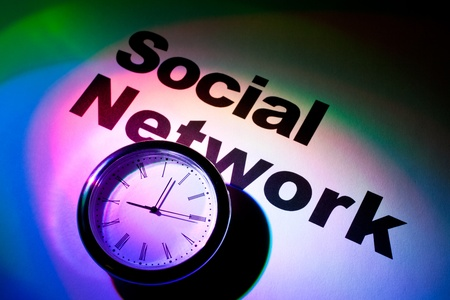 Clock and word of Social Network for background Stock Photo - 10068103